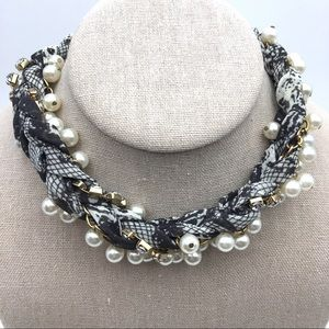 Jewelry - Pearl Crystal Black Snakeskin Fabric Choker